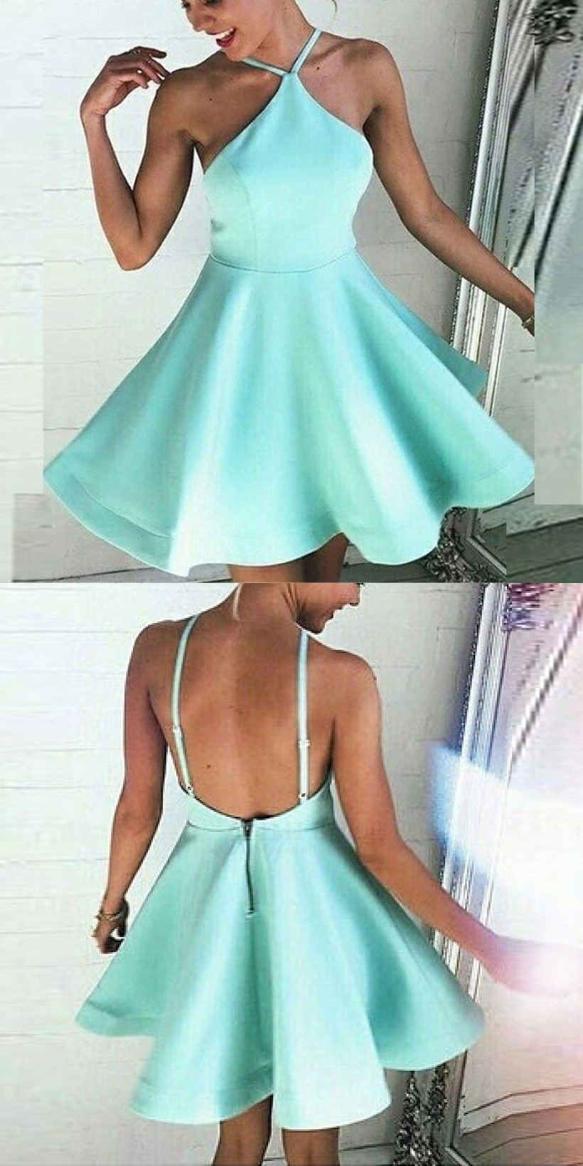 Aline halter backless mint green satin short homecoming dress