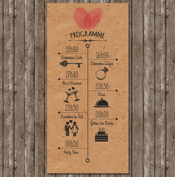 faire part mariage empreinte programme vintage kraft retro. Black Bedroom Furniture Sets. Home Design Ideas