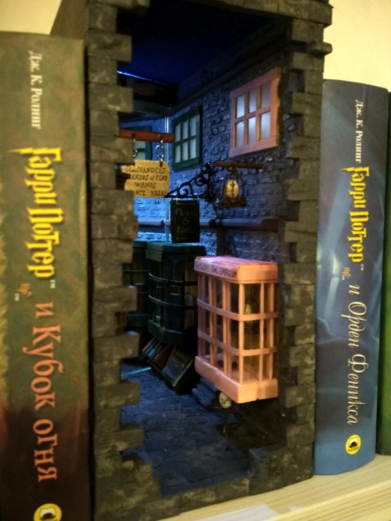 Diagon Alley Inspired Book Nook Ravenclaw Design Book Nooks Bookshelf Art Diagon Alley