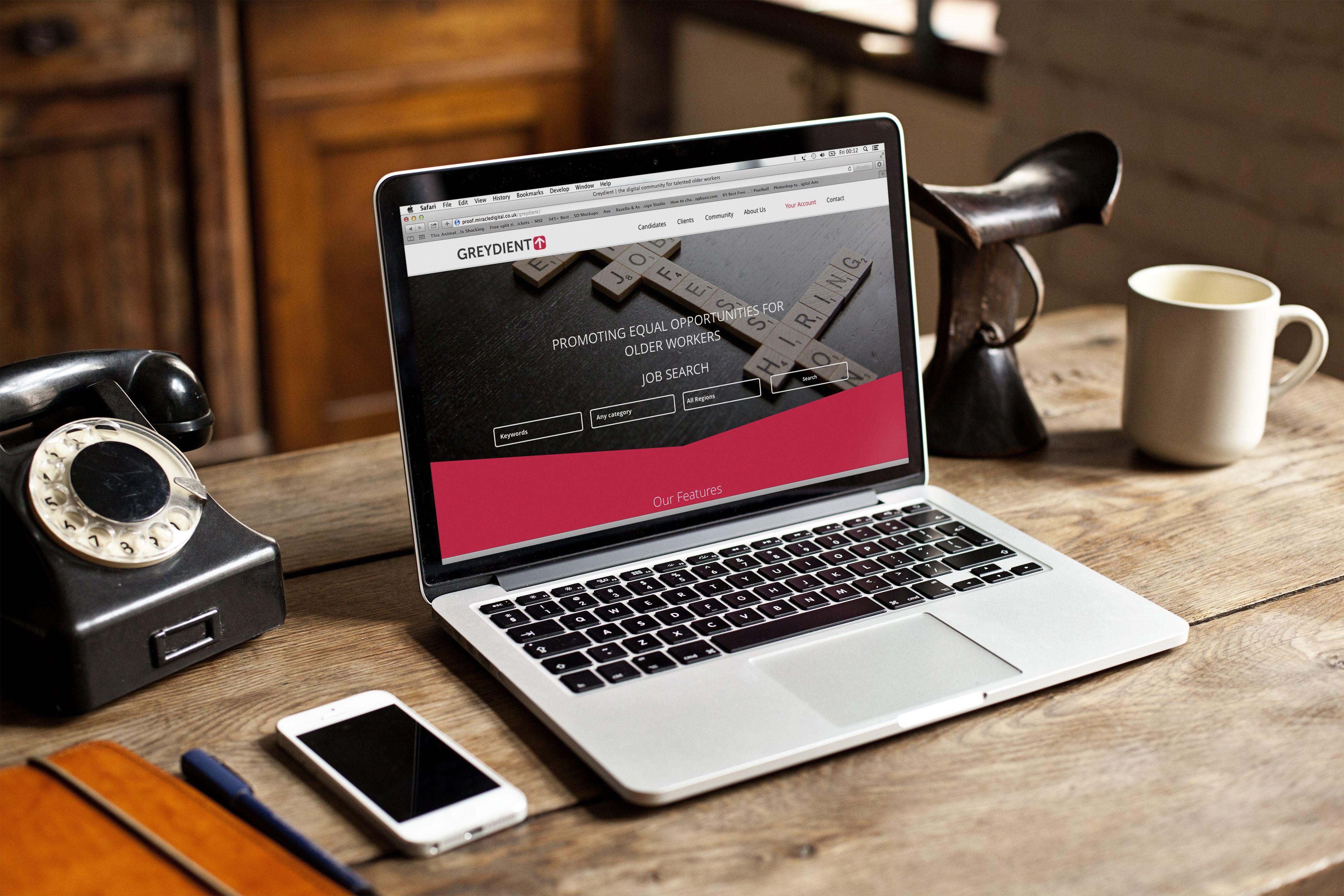 Greydient Jobs recruitment website displayed on MacBook