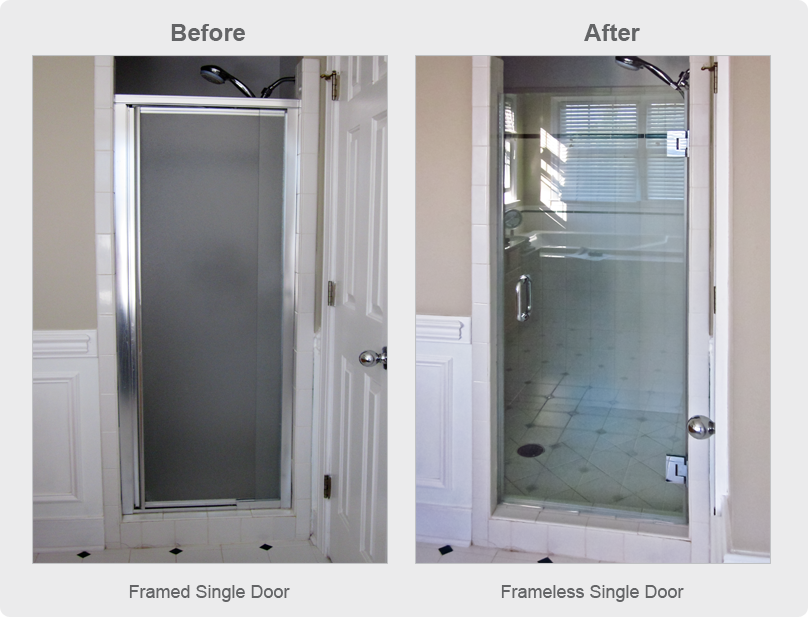 Single Shower Door Replacement For Walkin Shower Frameless Glass - Bathroom shower glass replacement