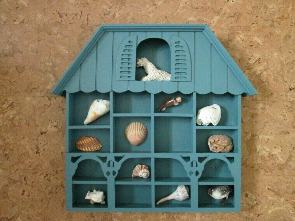 Blue House Shaped Shelf Shadow Box Miniatures Display Wall Hanging Curio 14x15 Unbranded Wall Hanging Curio Miniature Display Display Shelves Decor