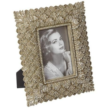 Bronze And Silver Leaf Rectangular 4x6 Picture Frame V3339 Lamps Plus 4x6 Picture Frames Picture Frames Cool Picture Frames