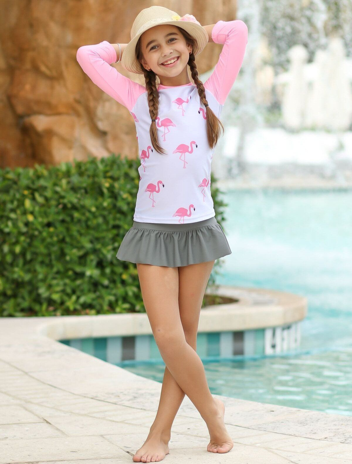 2964fbd68160a Girls Flamingo Print Skirted Rash Guard Two Piece Swimsuit (2 Color ...