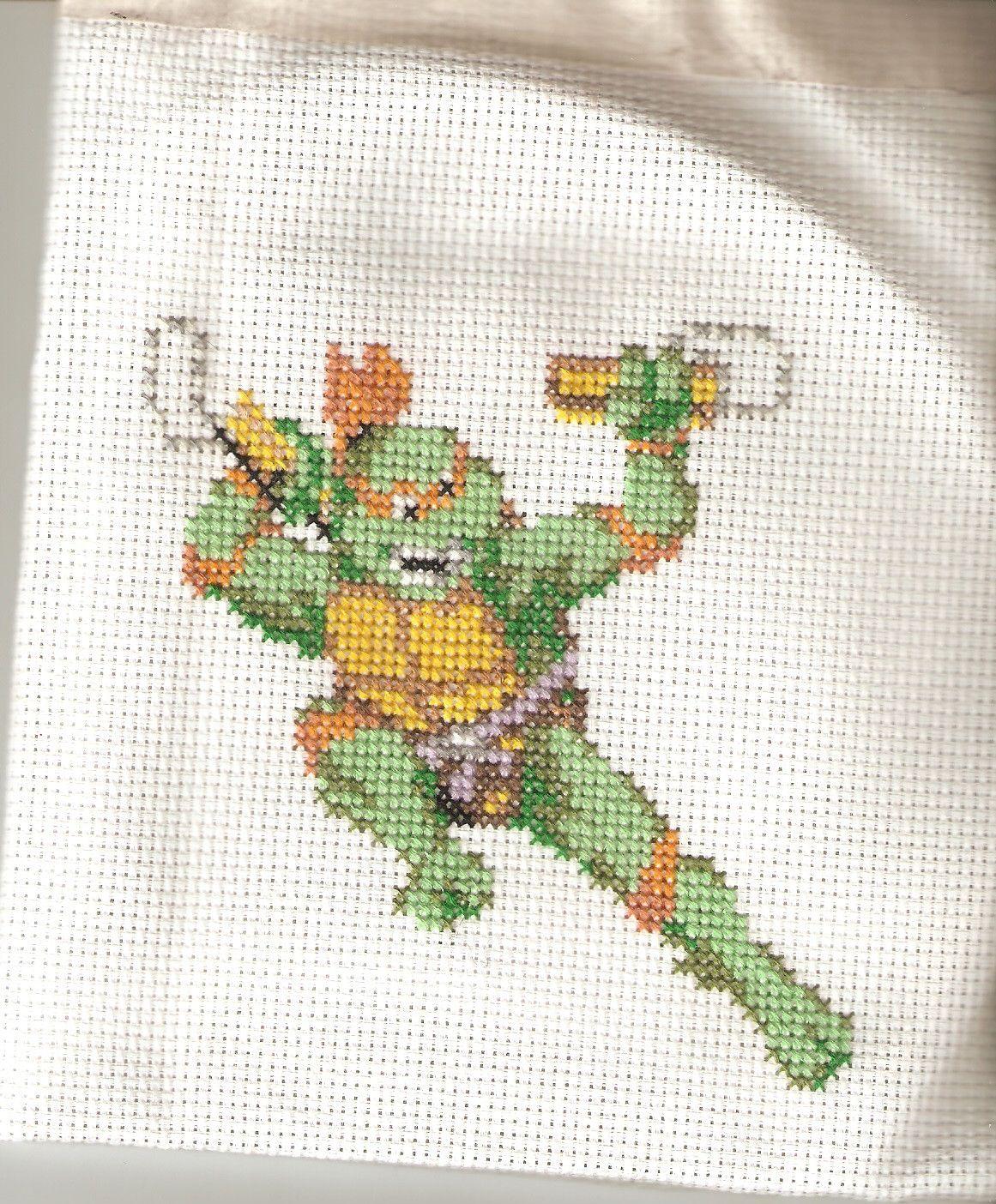 Michelangelo de las tortugas ninja hecho en punto de cruz ...