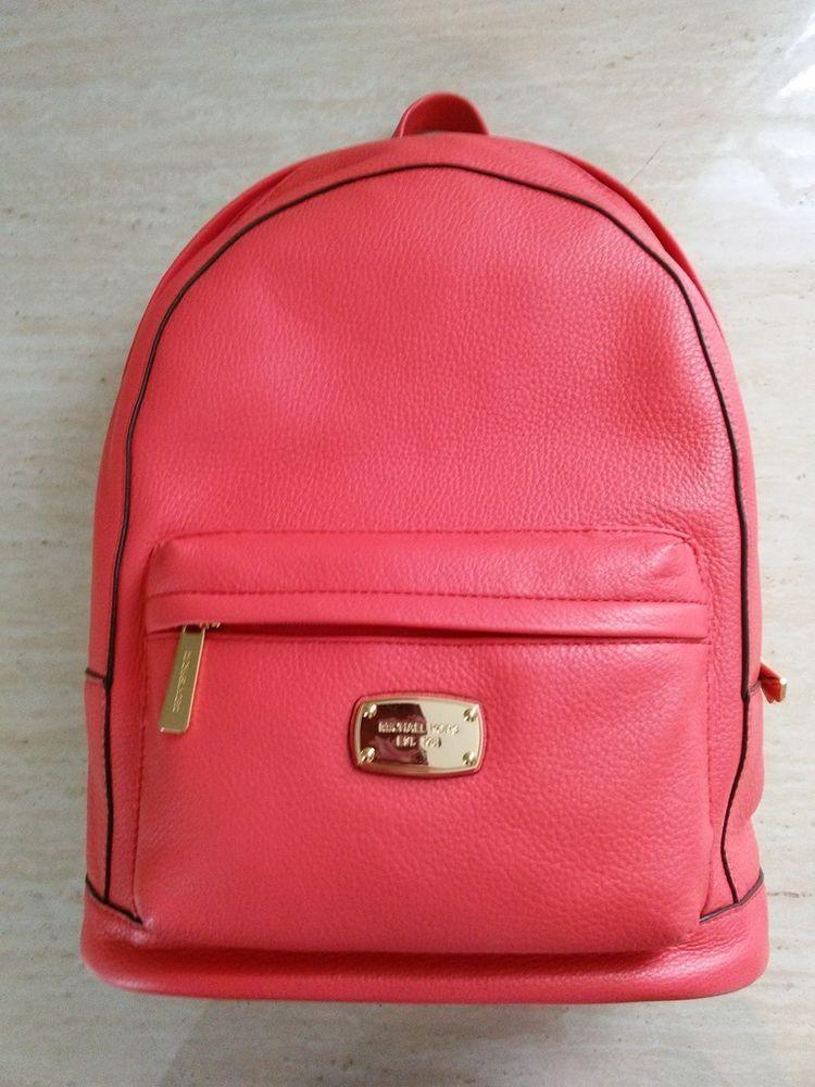 Michael Kors Jet Set Large Backpack Book Bag Leather Watermelon Salmon  Padded  MichaelKors  Backpack f2f0798c4c1de