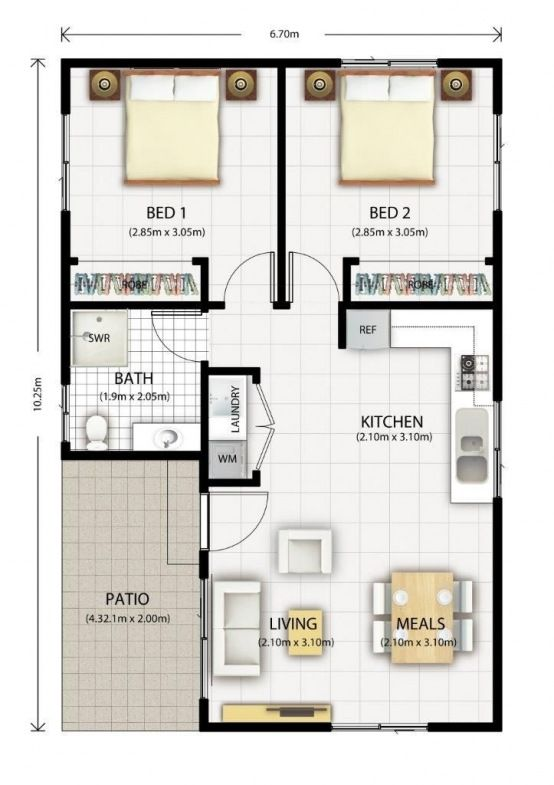 Converting A Double Garage Into A Granny Flat Plan Maison 2 Chambres Plan Maison 100m2 Plan Petite Maison