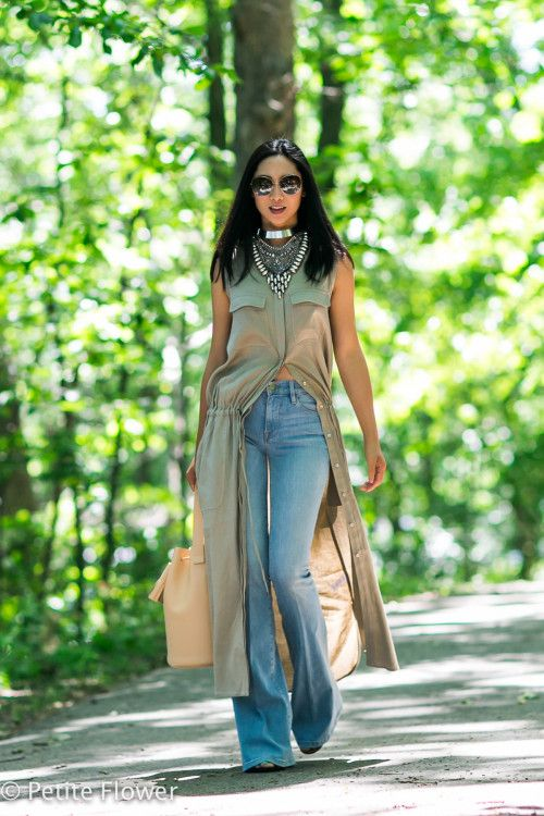 khaki shirt dress with flared jeans | FLARES TO REMEMBER 5 ...