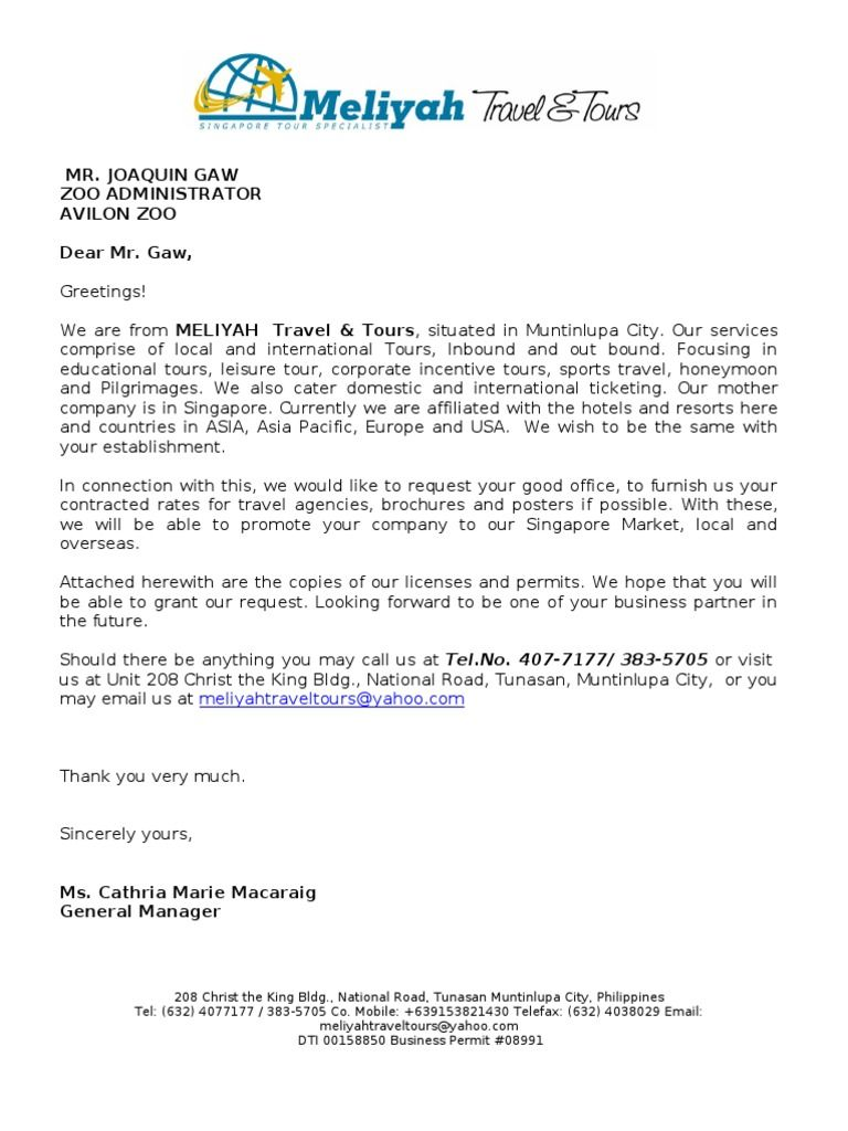 request letter contracted rates travel agency government