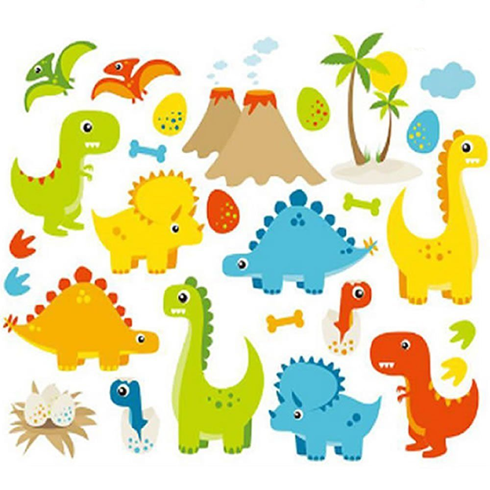 Dino Friends Dinosaurs Vinyl Wall Decals Kids Boys Bedroom Nursery ...