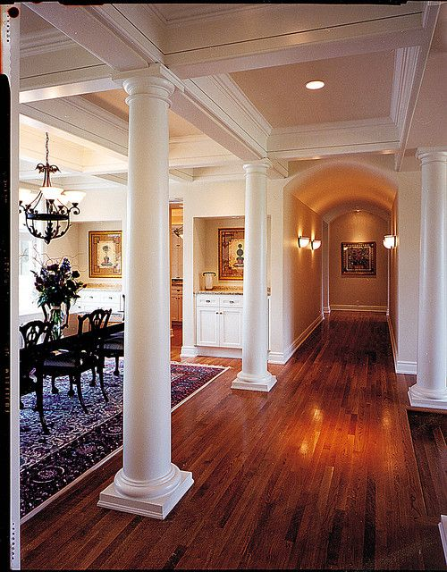 Columns Separate Dining Room From Hall Love The Ceiling