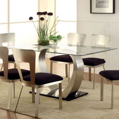 Furniture Of America Arlo 60 Glass Top Dining Table On Sale At Shophq Com Modern Dining Room Glass Top Dining Table Dining Room Sets