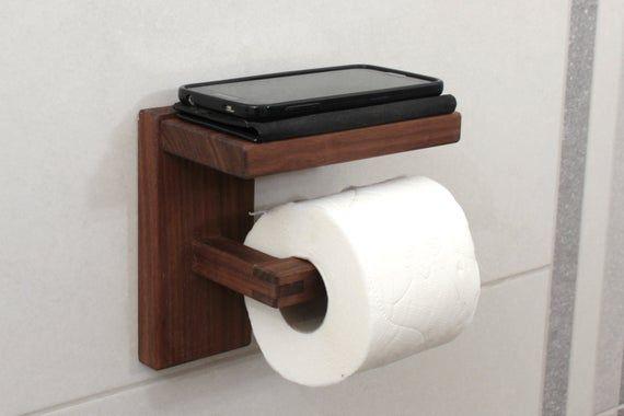 Wood Toilet Paper Holder With Shelf Walnut Toilet Roll Holder Minimal Bathroom Decor In 2020 Wood Toilet Paper Holder Towel Holder Bathroom Toilet Roll Holder Wooden