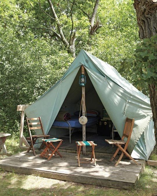 Upgraded tent c&ing featuring a custom Eena Wall Tent from Beckel Canvas Products | styled & Upgraded tent camping featuring a custom Eena Wall Tent from ...