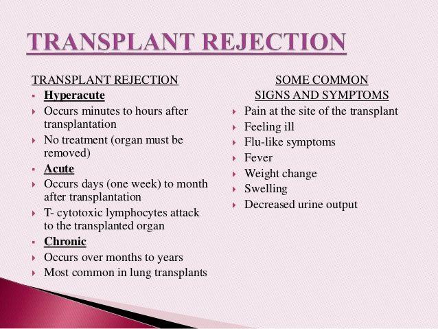 types of transplant rejection timeline