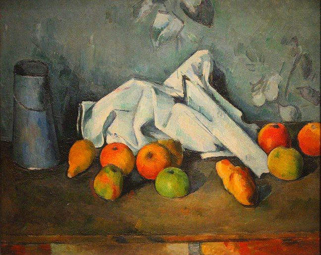 """Paul Cézanne, """"Milk Can and Apples"""" (1879-80). """"The William S. Paley Collection: A Taste for Modernism."""""""