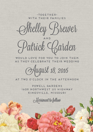 Beautiful botanical inspired invite