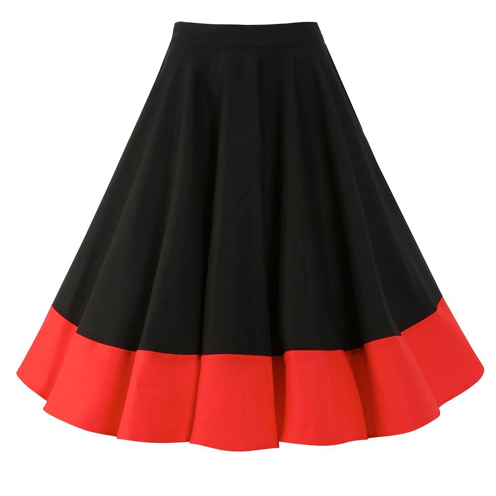 Ohlson' Black Red Circle Skirt | Vintage style, Black and Vintage