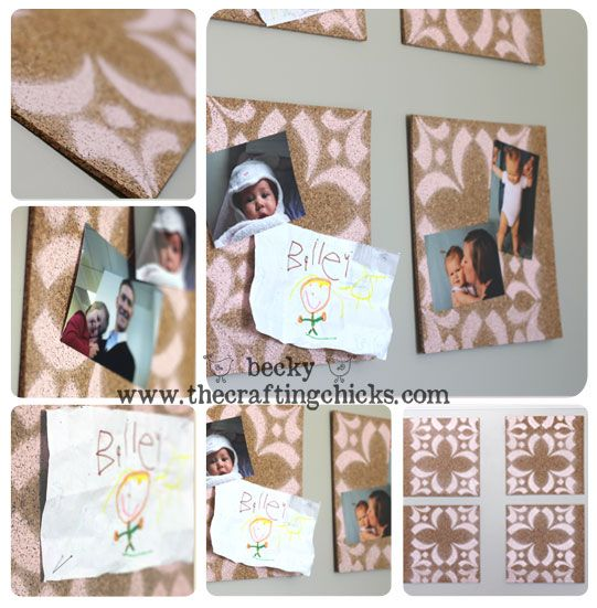 Stenciled Cork Board Tiles. What a fun way to add color to a room!