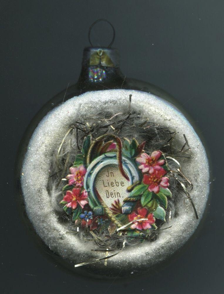 Alt Weihnachtsschmuck Christbaumschmuck Glas Halbkugel Hufeisen In