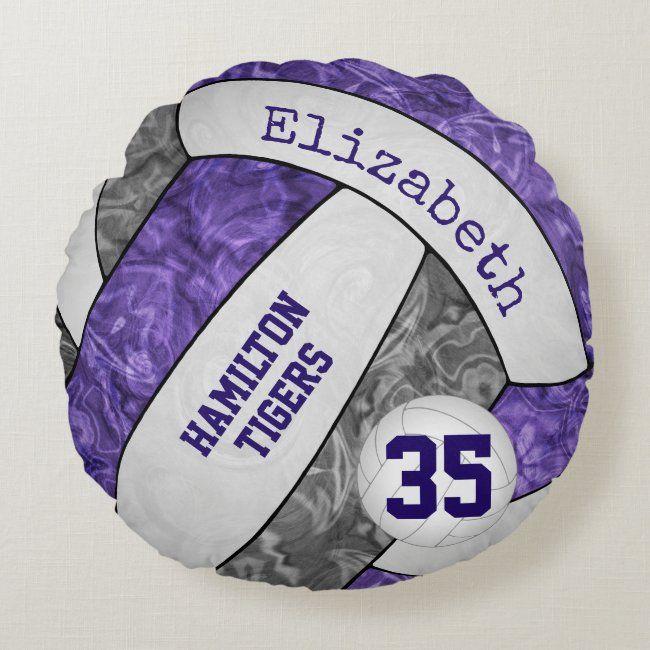Purple gray girls' volleyball team keepsake round pillow