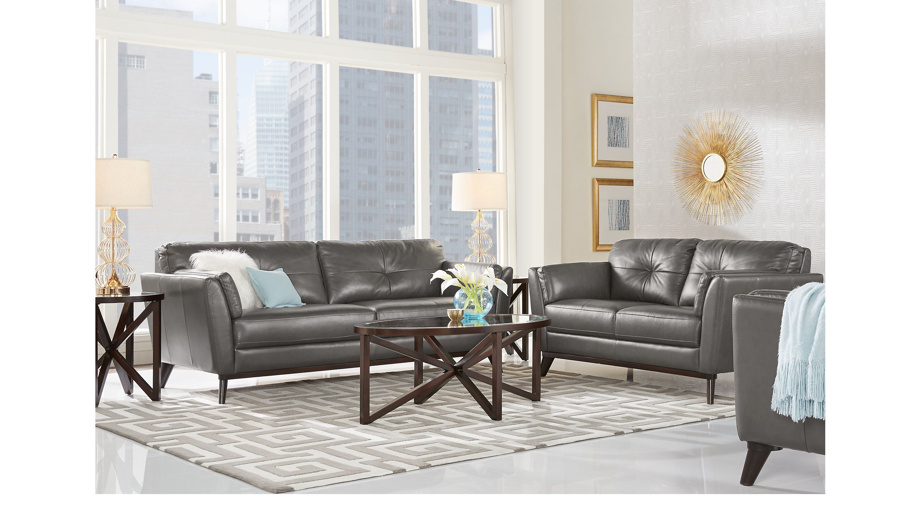 Sofia Vergara Gabriele Gray 2 Pc Leather Living Room - Leather ...
