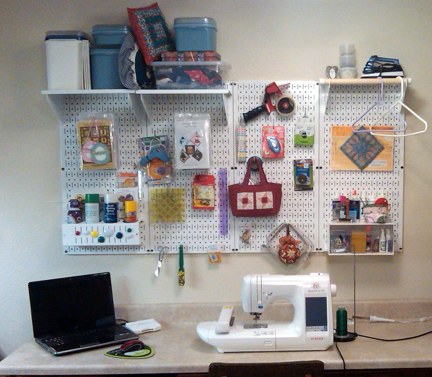 Craft diy storage and organziation with wall control white for Craft room pegboard accessories