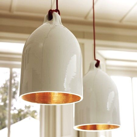Design Sleuth: Porcelain Lamps _ I really like these except they are gold inside.
