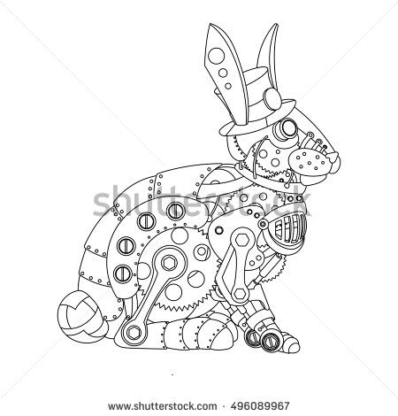 Mechanical Animal Coloring Book For Adult Vector Illustration