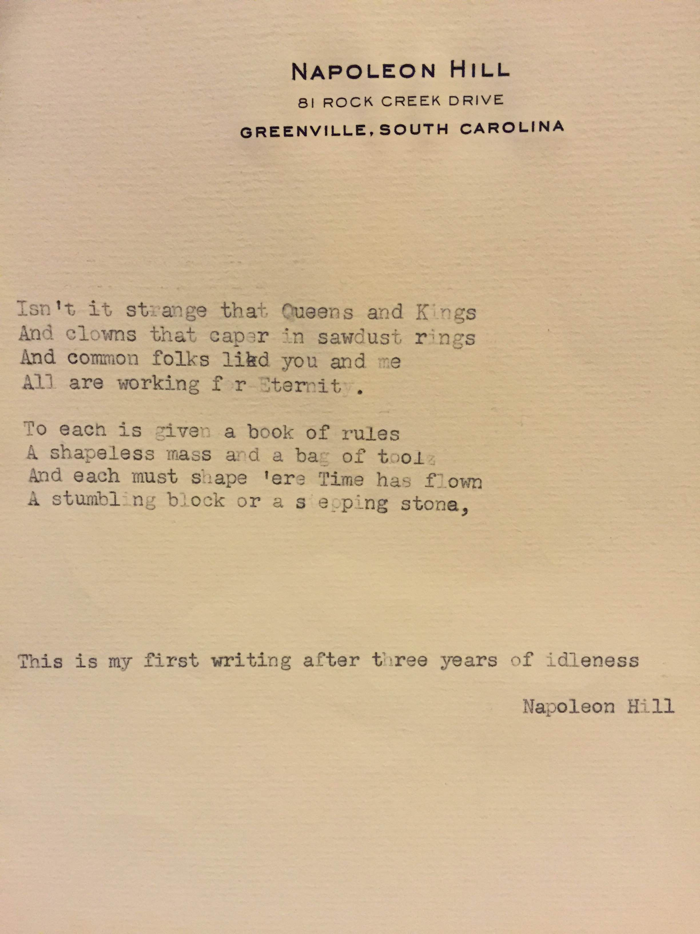 from the napoleon hill foundation archives a short poem written by