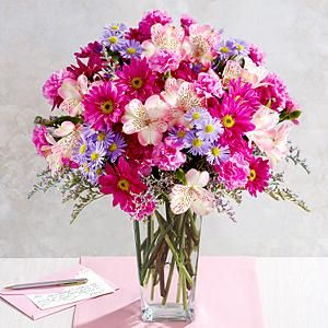 75 Blissful Blooms Of Love With Square Glass Vase And Other Flowers Plants At Proflowers Com Napady