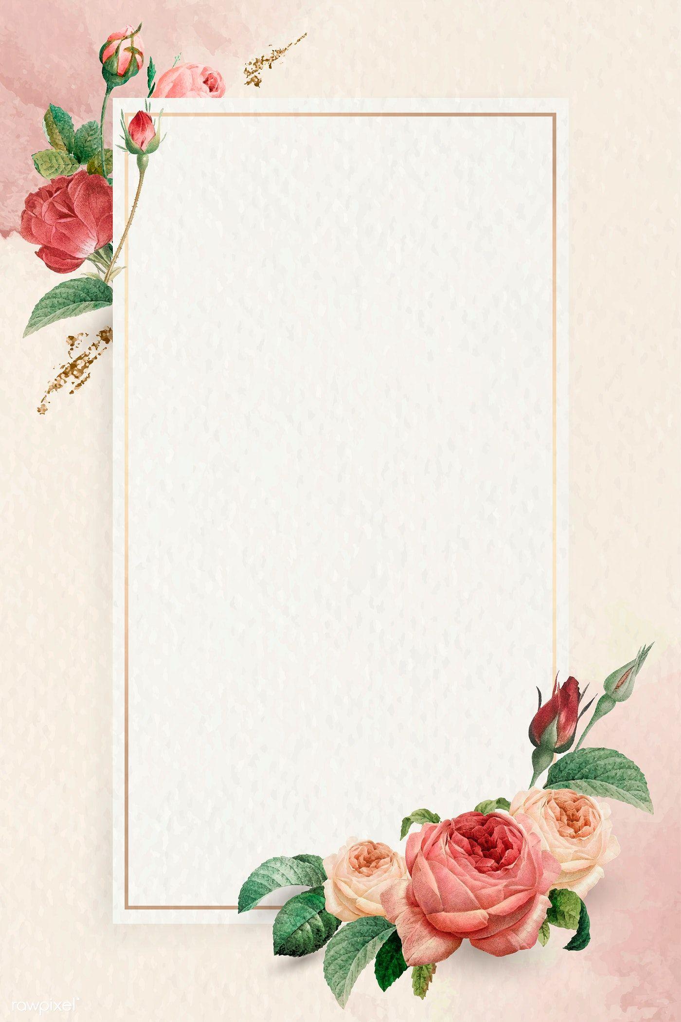 Download Premium Vector Of Floral Rectangle Golden Frame Vector 1212129 Flower Illustration Flower Frame Frame Border Design
