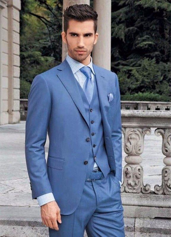 Latest Coat Pant Design Light Blue Men Wedding Suits Slim Fit Tuxedo ...