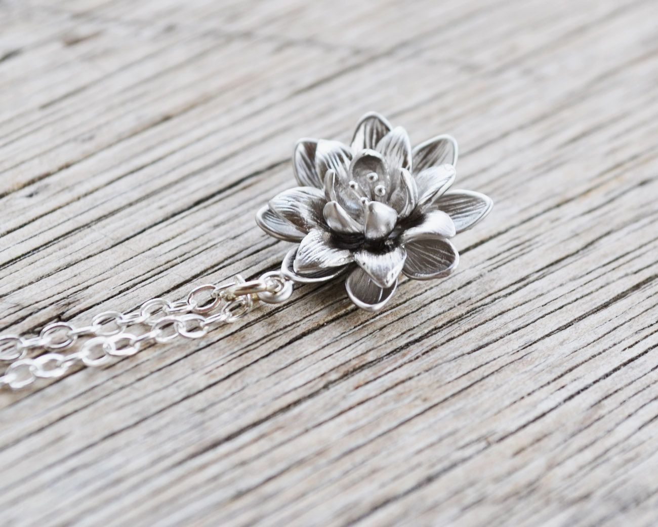Silver lotus flower necklace sterling silver chain water lily silver lotus flower necklace sterling silver chain water lily flower pendant beauty life gift under 25 2500 usd by twistedsilverdesign izmirmasajfo