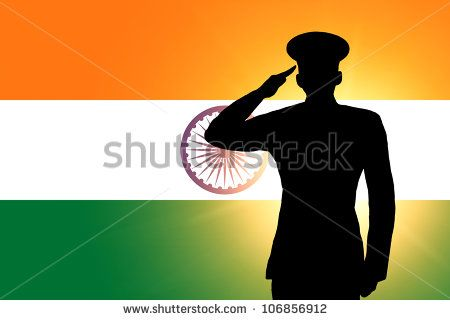 The Indian Flag And The Silhouette Of A Soldiers Military