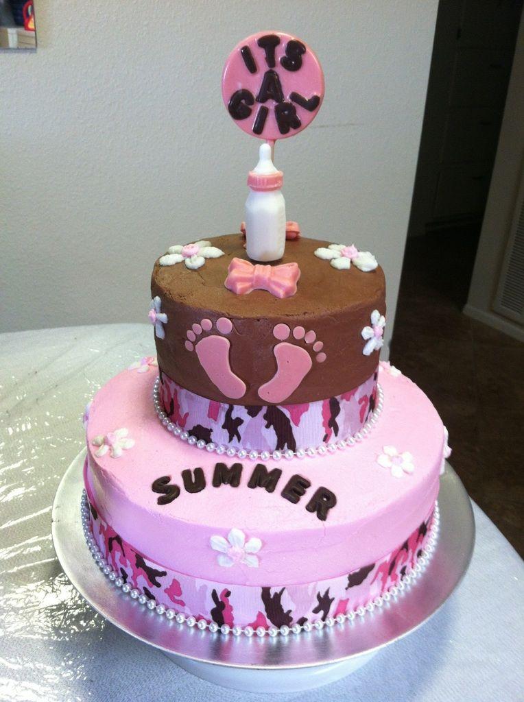 Good Brown U0026 Pink Baby Shower Cake With Camo Ribbon U0026 Footprints.