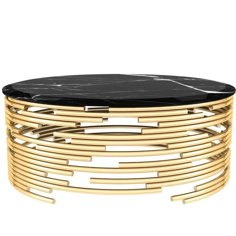 European modern brass and black marble round center table