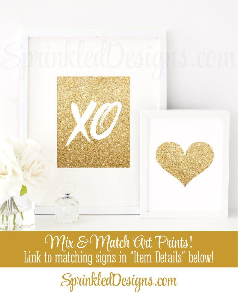 XOXO Sign - Printable Gold Glitter Decor, Bachelorette Party
