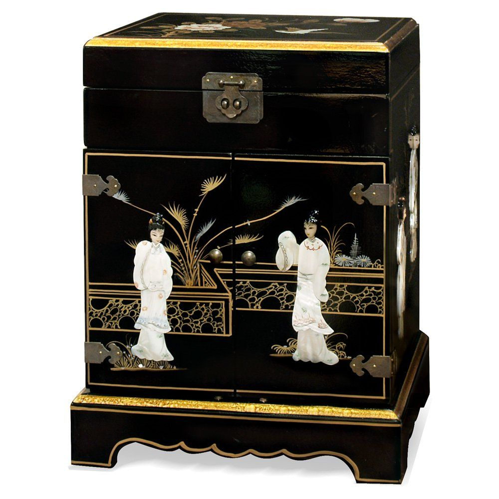 China Furniture line Chinoiserie Jewelry Cabinet Hand Painted
