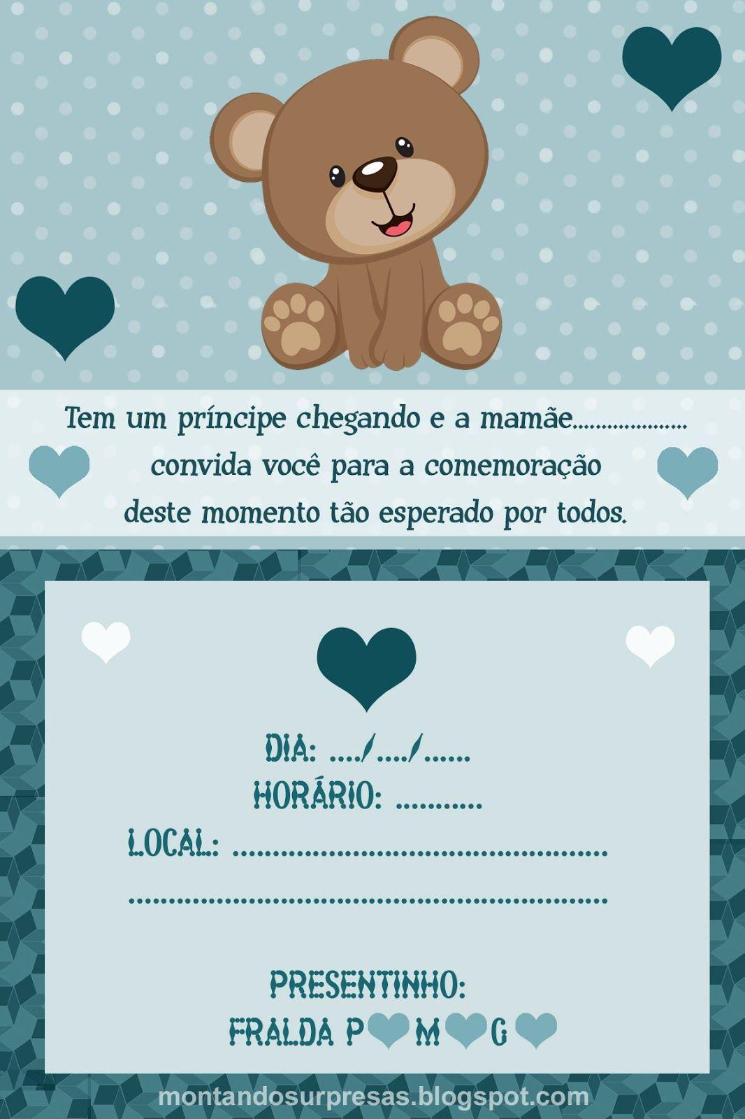 Convite Ursinho Delicado Cha De Fraldas Menino Gratis Para