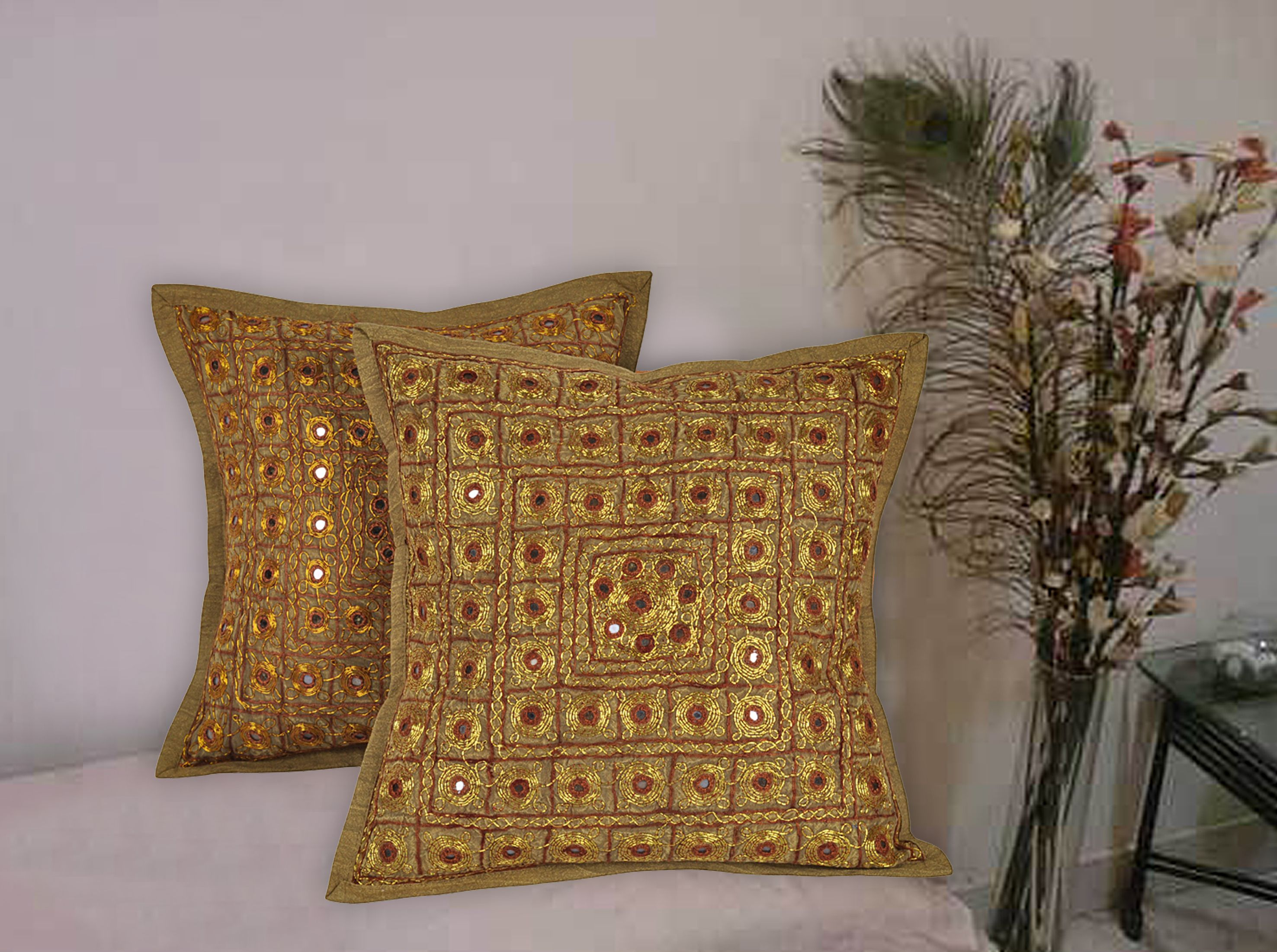 f1d7773390 India Handmade Mirror Work Embroidered Golden Color Cushin Cover for Home  Decor