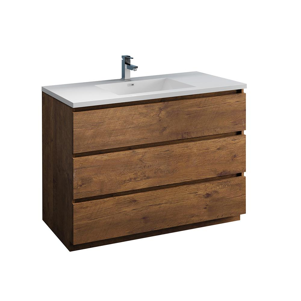 Fresca Lazzaro 48 In Modern Bathroom Vanity In Rosewood With