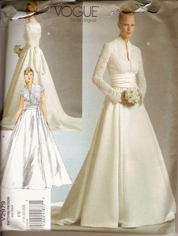 Vogue 2979 Wedding Gown Princess Grace Duchess of Cambridge Size 18 ...