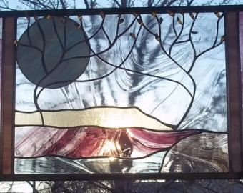 Stained Glass Window Panel Stormy Tree by stainedglassfusion