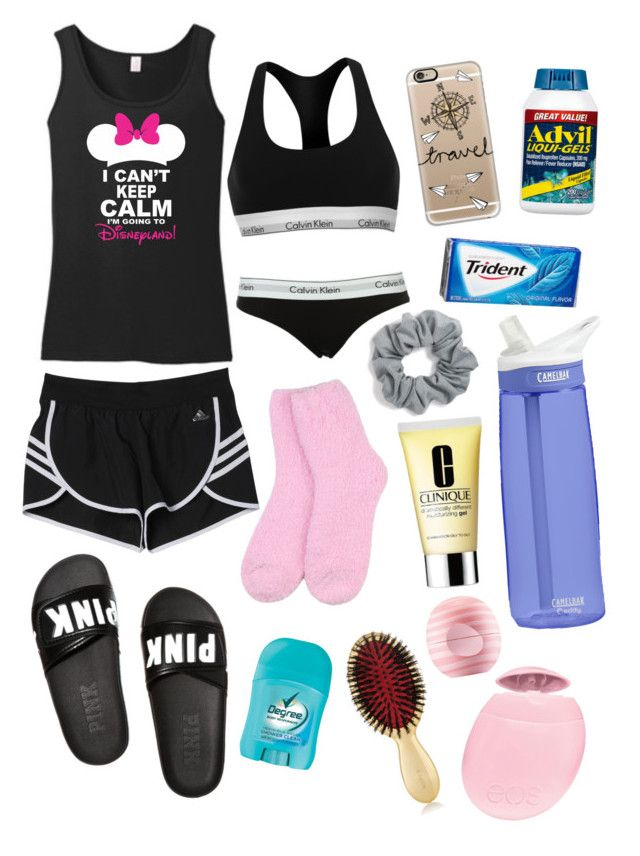 """Disneyland Plane Outfit & Essentials"" by drpalmer on Polyvore featuring adidas, CamelBak, Victoria's Secret, Eos, Clinique, Calvin Klein, AERIN, Liqui, Casetify and Natasha Couture"