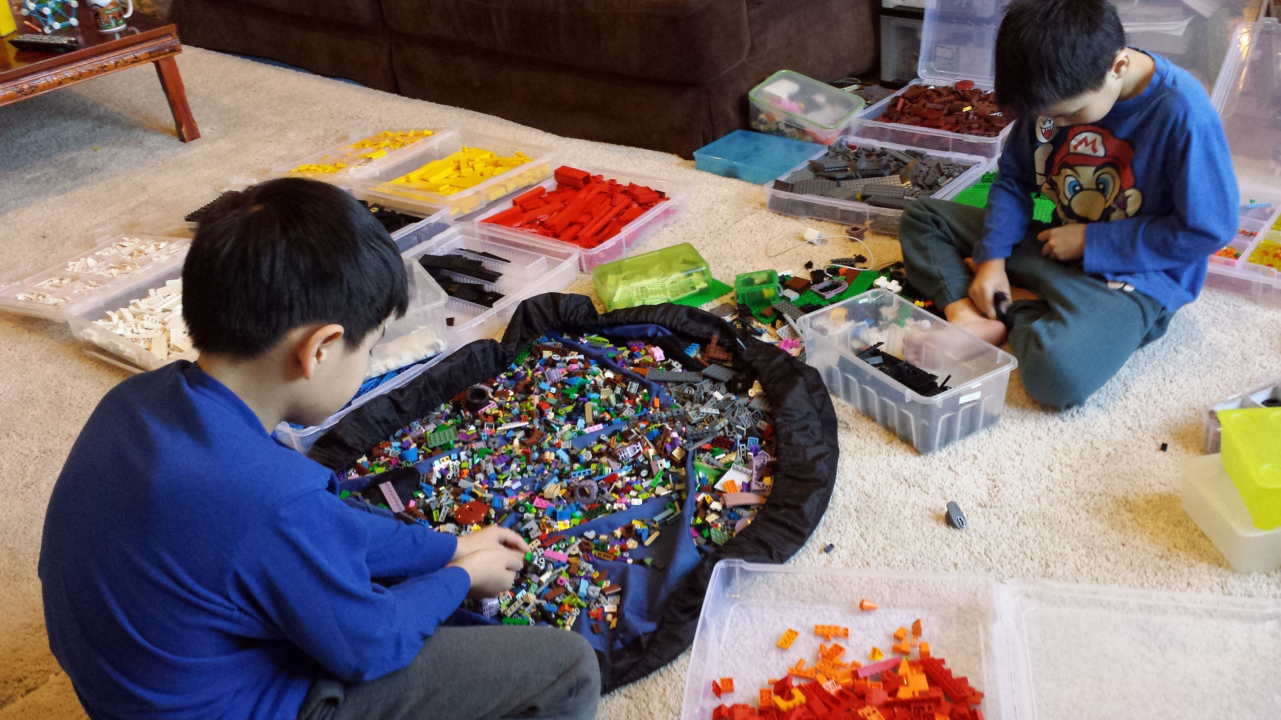 When you have this many LEGOs, sorting by color first is a must. Then you must sort by shape.  photo Jenn Choi