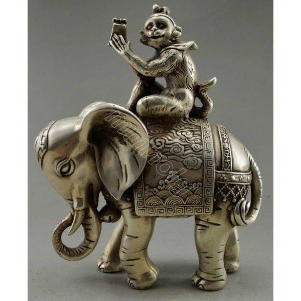 Monkey Elephant Statue 147 Liked On Polyvore Featuring Home Home Decor Elephant Home Accessories Tibe Monkey Statue Elephant Home Decor Elephant Statue