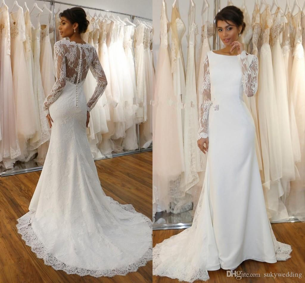 2019 Lace Mermaid Wedding Dresses With Long Sleeves Stain Jewel Neck Covered Button Country Boho Wedding Gowns Sweep Train From Sukywedding 140 71 Dhgate Co Satin Mermaid Wedding Dress Long Sleeve Wedding [ 950 x 1024 Pixel ]