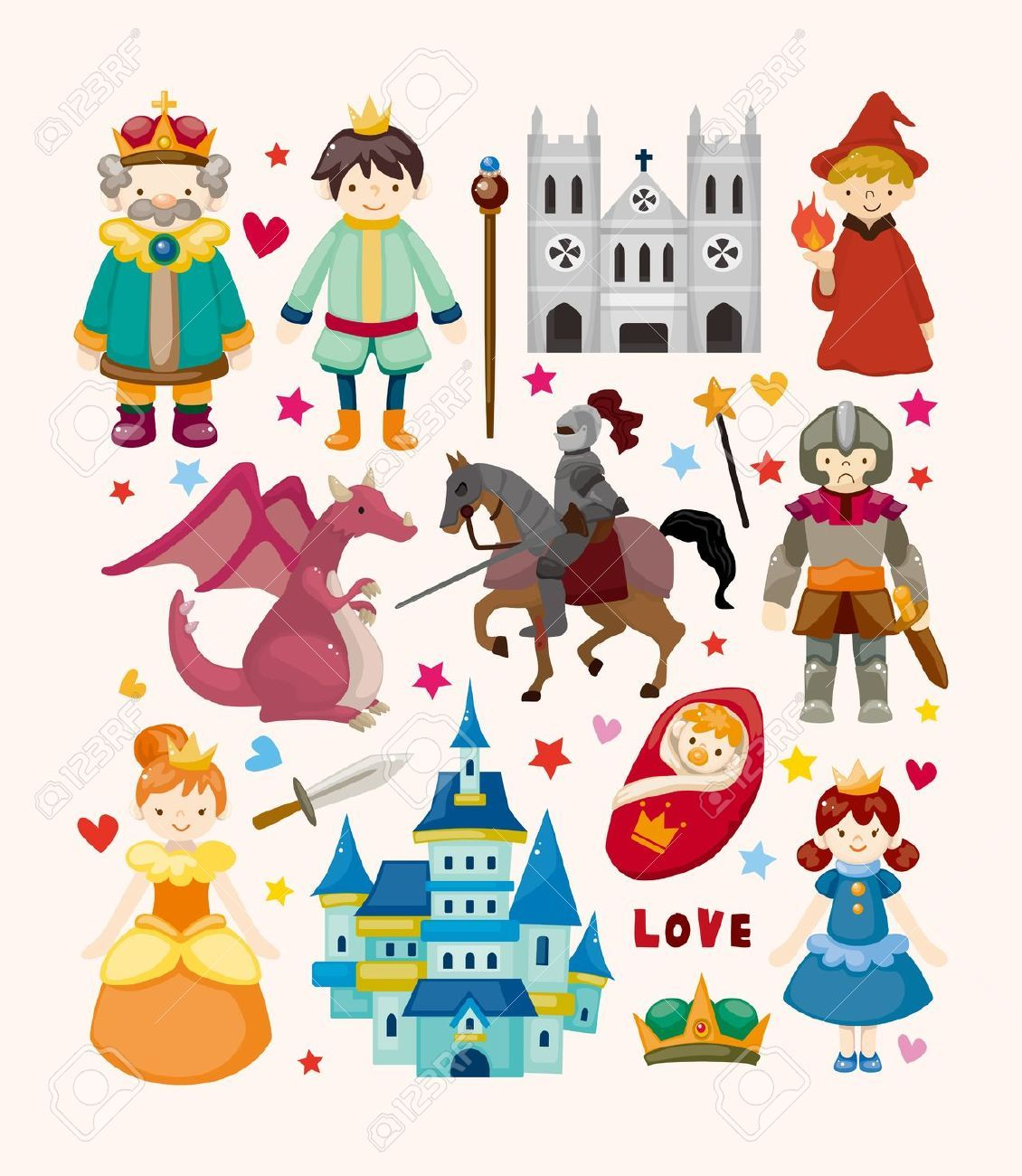 Set Of Fairy Tale Element Icons Fairy Tales Fairy Tale Characters Fairy Tales For Kids