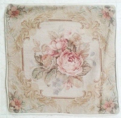 18-NeedlePoint-QUEEN-VICTORIA-Pillow-Sham-18-Square-with-Piping